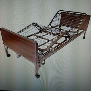 Full Electric Hospital Bed W Innerspring Frame Mattress And Two Half Rails
