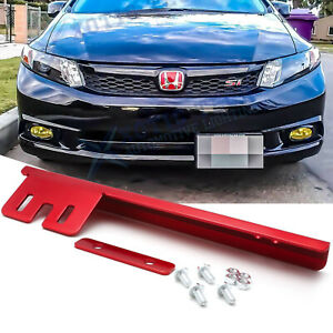 Red Front Bumper Jdm License Plate Mounting Bracket Relocator For Honda Civic
