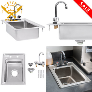Single Bowl Drop in Bar One Compartment Sink Stainless Steel Goose neck Faucet