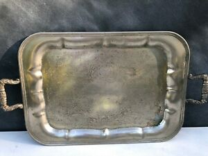 Vintage Silver Plated Chased Serving Tray By Crosby With Handles 1930 S