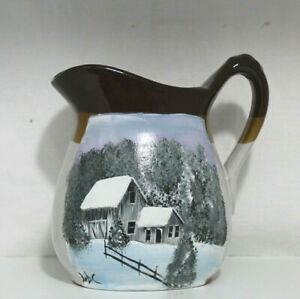 Ceramic Pitcher With Hand Painted Winter Barn Scene 2020020201