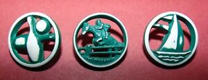Set Of 3 Sporting Plastic Buttons 803
