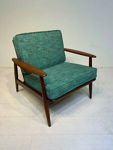 Original Mid Century Modern Danish Solid Teak Lounge Chair