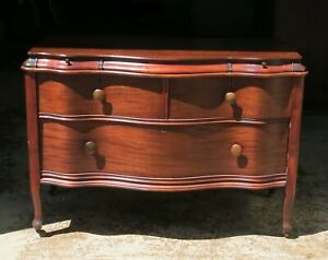 Antique Late Victorian Dresser 1909 Serpentine Front Secret Drawer