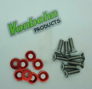 Vonbohn Logo Anodized Fender Engine Spoiler License Plate Washer With Bolts
