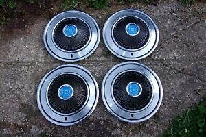 1973 78 Ford Mercury Country Squire Ltd Galaxie Cougar 4 Hubcaps 3 Blue Lions