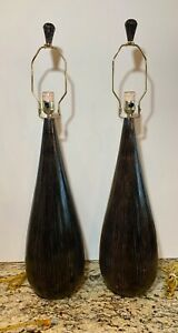 Pair Of Mid Century Danish Modern Wood Vintage Tear Drop Table Lamps Lights