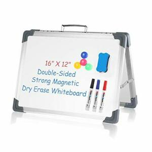 Small Dry Erase White Board 16 X 12 Portable Foldable Magnetic