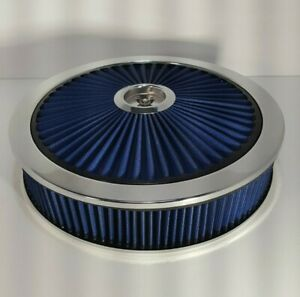 Spectre 14 X 3 Blue Extra Flow Air Cleaner With Flat Base Chevy Ford Hot Rod