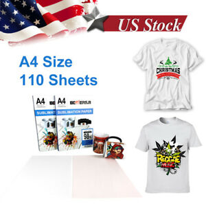 110pcs A4 Sublimation Iron On Heat Transfer Paper For Diy T shirt Printer Mug Us