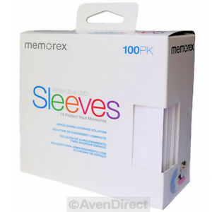 100 New Memorex White Cd Dvd Paper Sleeves Window Flap free Fast Shipping