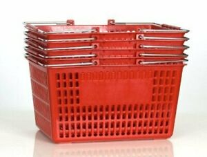 Shopping Basket set Of 5 Durable Red Plastic With Metal Handles 1 pack