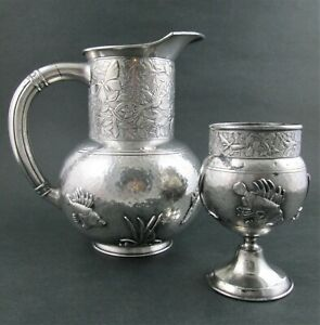 Quadruple Silver Pitcher Goblet Applied Fish Insects Hummingbirds Meriden
