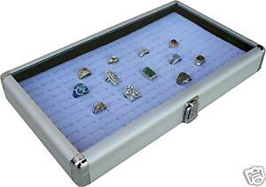 Aluminum 72 Ring Case Box Display With Grey Insert New