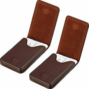 2 Pieces Business Card Holder Wallet Pu Leather Case Pocket Name With Magnetic