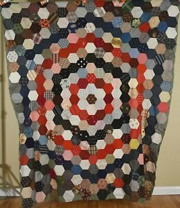 Magnificent Vintage 1880 S Hexagon Medallion Charm Quilt Top Early Fabrics