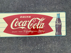 Embossed Tin Coca Cola Fishtail Sign Enjoy That Refreshing New Feeling 32x11.75