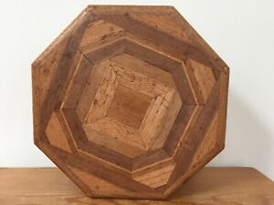 Vtg Handmade Inlay Octagonal Oak Wood Wooden Jewelry Sewing Kit Box Contents 9