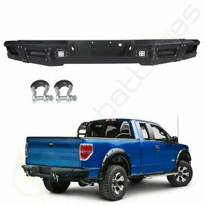 For 2012 2014 Ford F 150 Step Rear Bumper Guard Face Bar Pickup Winch Led Lights