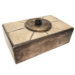 English Art Deco Sterling And Shagreen Cigar Box With Spinner Top
