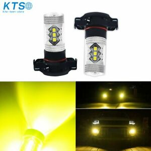 2x Psx24w 2504 Yellow 80w Cree Led Bulbs For Fog Lights Driving Lamps