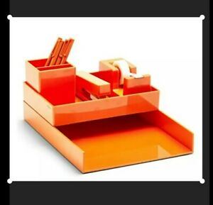Poppin All Set 12 piece Desk Collection orange sale Price Free Shipping Fast