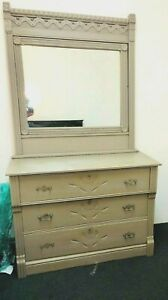 Dresser W Vanity Mirror Carved Details Solid Wood