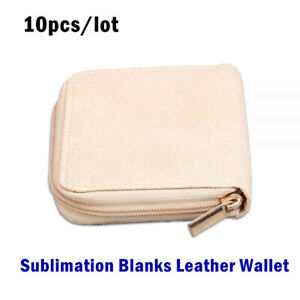 10pcs lot New Sublimation Blanks Leather Wallet With Zip