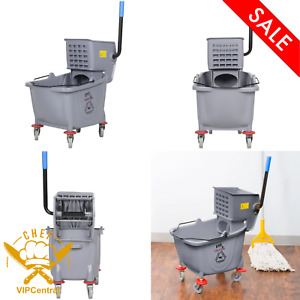Floor Mop Bucket 35 Qt Side Press Wringer Combo Squeeze Cleaning Plastic Gray