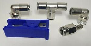 Inflation Valve 1 2 Air Line Schrader Fitting With Two 90 Degree 1 2 Npt Tee