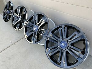 17 Ford F150 Expedition Black Limited Xlt Oem Factory Stock Wheels Rims 6x135