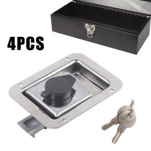 4pcs 119 92mm Durable Stainless Steel Toolbox Locks Truck Tool Box With 2 Keys