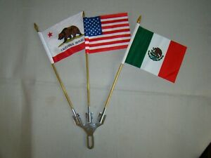3 Flag Holder With 3 Flags Mexico Usa California License Plate Topper Flag