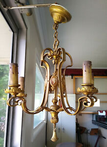 Vintage Gold Brass French Cameo 5 Light Chandelier Ceiling Fixture