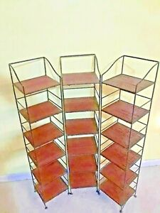 3 Wrought Iron Style Stands W Wood Shelves