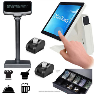 2 X Printer System Pos All In One Touch Screen Pole Client Restaurant Pizza Bar