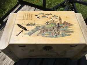 Ornate Antique Hand Carved Painted Chinese Camphor Wood Chest With Lock