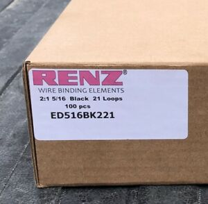 Box Of 100 Renz 5 16 Black 2 1 Wire Ring 21 Loops For Binding Ed516bk221