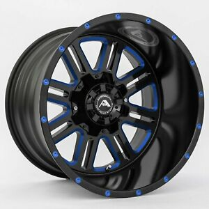 20x10 American Off Road A106 5x114 3 24 Black Milled Blue Wheels Rims Set 4