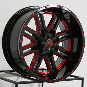 20x10 American Off Road A106 6x135 24 Black Milled Red Wheels Rims Set 4