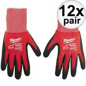 Milwaukee 48 22 8903 12x Cut Level 1 Dipped Gloves X Large New