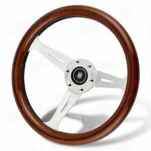 O Style Classic 350mm Steering Wheel Mahogany Wood With Black Spoke Nardi New