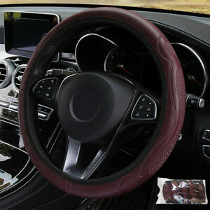 Wine Red Leather Car Steering Wheel Cover Anti Slip Protector Breathable 37 38cm