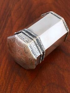 Superb Octagonal Hand Chased Indian Silver Betel Pandan Box