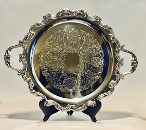 Marvelous Vintage 22 Godinger Round Silver Plated Serving Tray With Handles