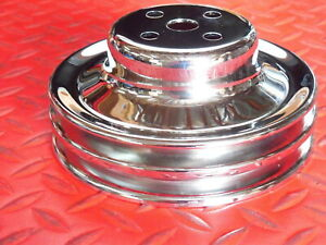 Water Pump Pulley Ford Small Block Chrome 2 Groove Sbf Double V Belt