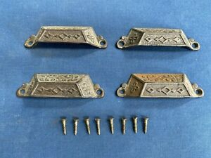 4 Antique Vintage Cast Iron Drawer Bin Pull Handles Screws Hardware Reclaimed