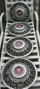 Set Of 4 1981 85 Cadillac Eldorado Seville 15 Wire Spoke Hubcaps Wheel Covers