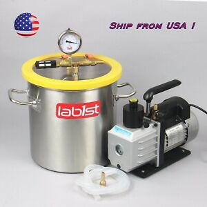 5 Gallon Degassing Vacuum Chamber And Two Stage 7cfm Vacuum Pump Kit