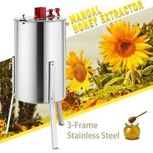 3 frame Manual Honey Extractor Beekeeping Equipment Drum W Stand 140w 24